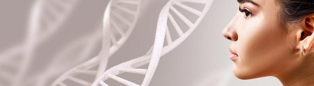 woman staring in the distance with dna strands near her
