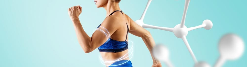 woman in a moving motion with translucent bands around her