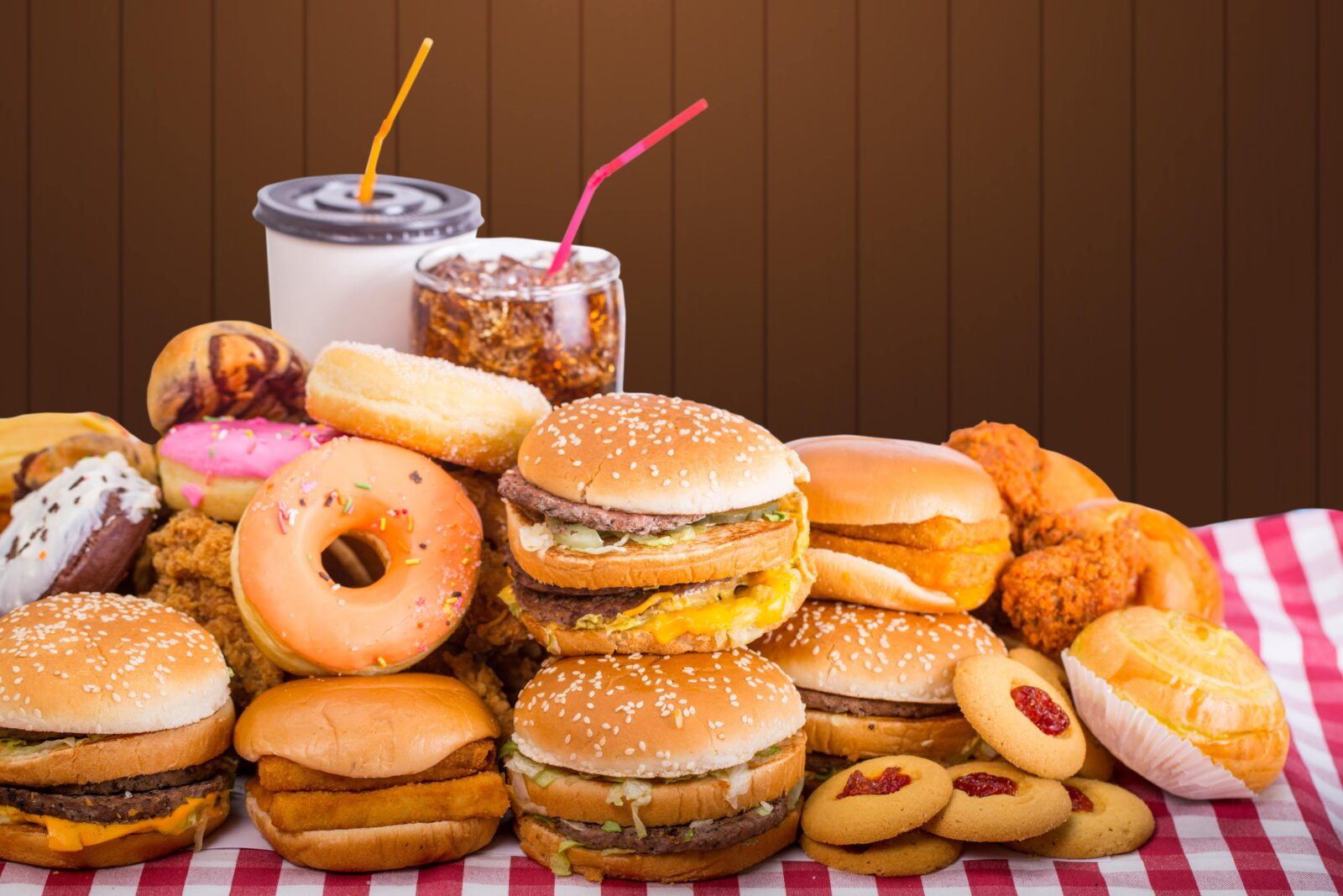an assortment of fast food products