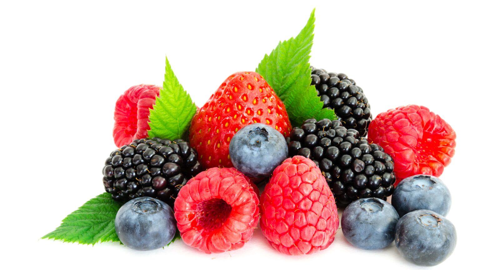 strawberries, blackberries, blueberries, and raspberries